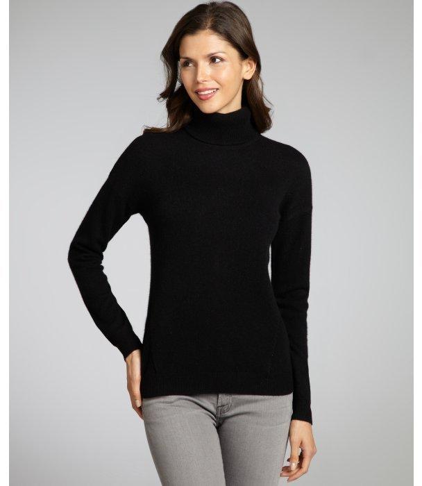 Magaschoni black cashmere zip back turtleneck sweater