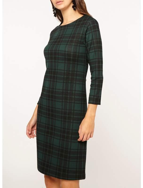 Tall Green Check Jersey Shift Dress