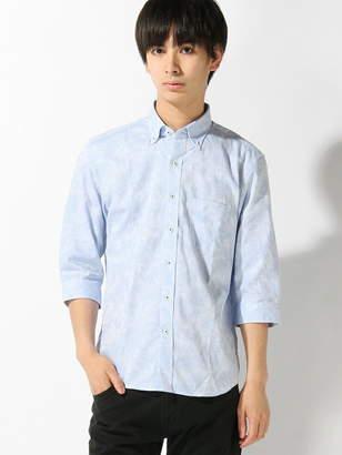 Men's Bigi (メンズ ビギ) - MEN'S BIGI ボタニカルジャガードシャツ 7 分袖/リネン混 メンズ ビギ シャツ/ブラウス