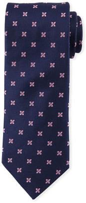 Eton Floral-Pattern Open-Ground Silk Tie