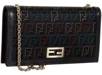 Fendi black zucchino jacquard wallet with chain strap