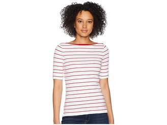 Lauren Ralph Lauren Striped Cotton Boat Neck Top Women's Clothing