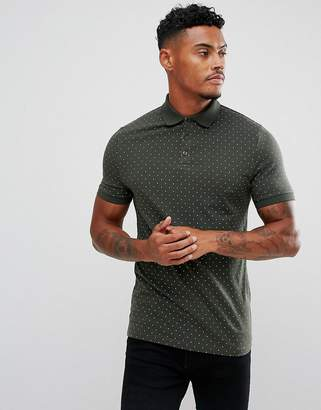 Asos Muscle Polo With Polka Dot Print