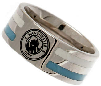 Manchester City Stainless Steel Man City Striped Ring - Size X