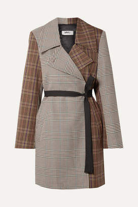 MM6 MAISON MARGIELA Patchwork Checked Crepe Wrap Jacket - Brown