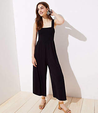 LOFT Smocked Wide Leg Jumpsuit