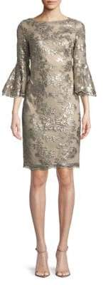 Calvin Klein Sequined Floral Bell-Sleeve Sheath Dress