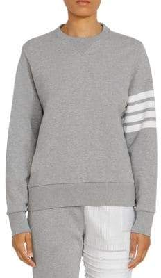 Thom Browne Women's Patchwork Back Crewneck Sweatshirt - Light Grey - Size 40 (4)