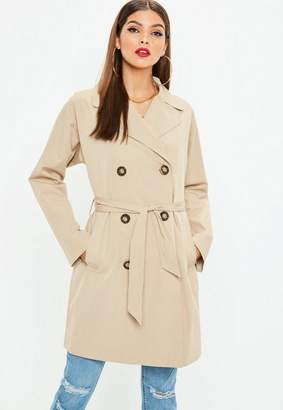 Missguided Stone Classic A Line Belted Trench Coat, Stone