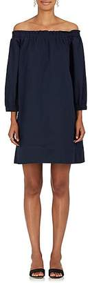 Lisa Perry WOMEN'S COTTON TWILL OFF-THE-SHOULDER SHIFT DRESS - NAVY SIZE M