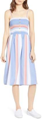 Angie Smocked Bodice Stripe Midi Dress