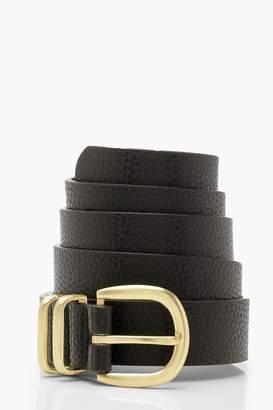 boohoo Triple Bar Horseshoe Buckle Belt