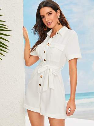 Shein Flap Pocket Front Rolled Cuff Utility Romper