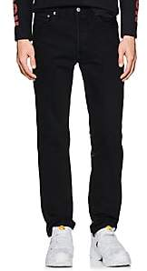 Vetements Men's Leather-Back Straight Jeans-Black