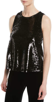 Emporio Armani Crewneck Sleeveless Sequin Top