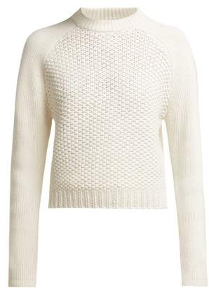 Chloé Contrast Knit Wool And Cashmere Blend Sweater - Womens - White