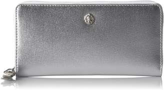 Anne Klein Slim Zip Around Wallet Wallet, METALLIC SILVER/METALLIC SILVER/BAY BLUE