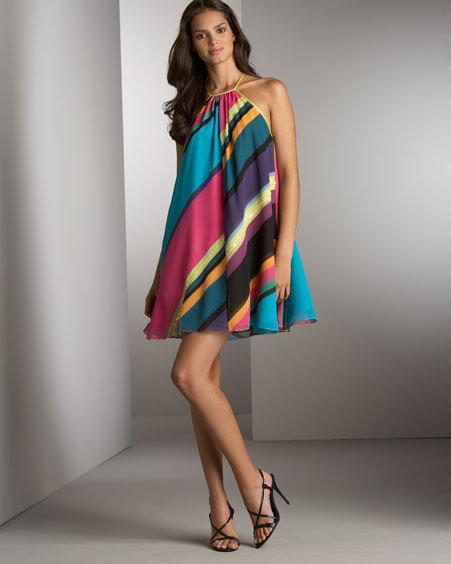 Catherine Malandrino Silk Striped Minidress