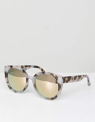Asos DESIGN Chunky Round Sunglasses In Milky Tort and Flash Lens