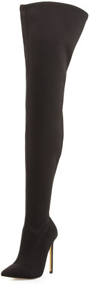 Neiman Marcus Level Stretch Over-The-Knee Boot, Black $350 thestylecure.com