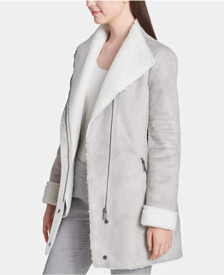 Calvin Klein Asymmetrical-Zip Jacket With Faux-Fur Trim