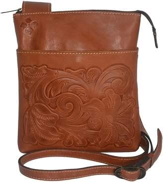 Patricia Nash Italian Leather Tooled Stipes Sling Crossbody Handbag Purse