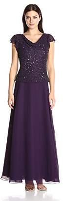 J Kara Women's Long Beaded Cowl Neck Flutter Sleeve Gown Dress