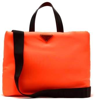 Prada Logo Embellished Padded Nylon Tote Bag - Womens - Orange