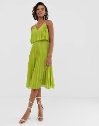 Asos Design DESIGN pleated crop top midi dress