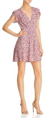 Olivaceous Floral-Print Wrap Mini Dress