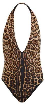 Saint Laurent Leopard Print Swimsuit - Womens - Leopard