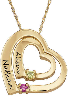 FINE JEWELRY Personalized Simulated Birthstone Engraved Double Heart Pendant Necklace
