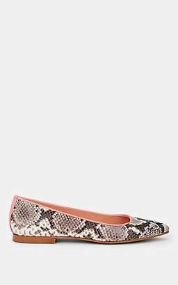 FiveSeventyFive Women's Snakeskin-Stamped Leather Flats - Apricot