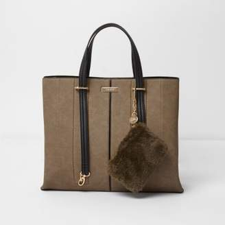 River Island Khaki long handle pouchette tote bag