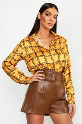 boohoo Satin Chain Print Oversized Button Through Shirt