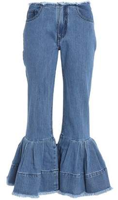 Marques Almeida Marques' Almeida Frayed Pleated Low-Rise Flared Jeans