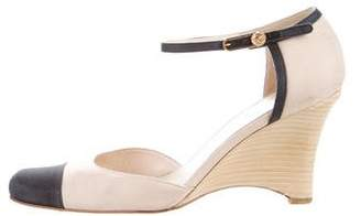 Chanel Canvas Cap-Toe Wedges