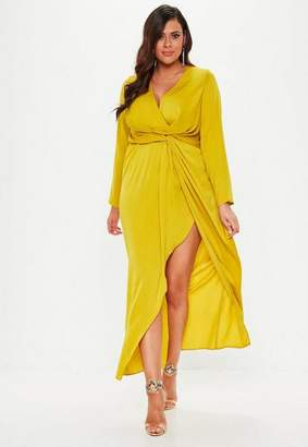 Missguided Plus Size Chartreuse Wrap Knot Front Dress