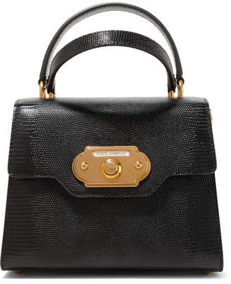 Dolce   Gabbana Welcome Small Lizard-effect Leather Tote - Black 8c1c274402d8a