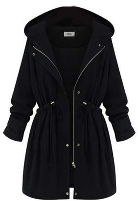 Suvotimo Women Plus Size Casual Full Zipper Fleece Outerwear Coats Parkas Anoraks 3XL
