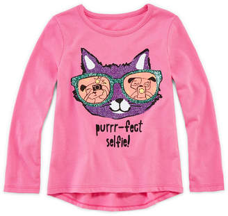 JCPenney Okie Dokie Long-Sleeve Graphic Tee - Toddler Girls 2t-5t