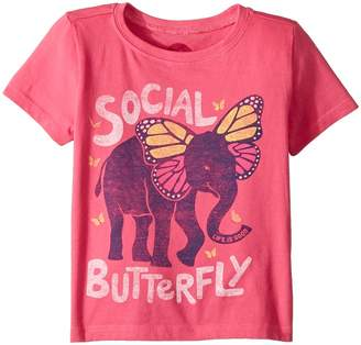 Life is Good Social Butterfly Crusher Kid's T Shirt