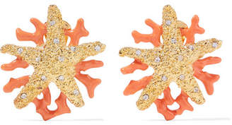 Kenneth Jay Lane Gold-plated, Crystal And Enamel Clip Earrings