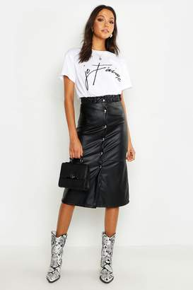 boohoo Tall Button Front Faux Leather Midi Skirt