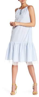 Alton Gray Polkadot Mesh Overlay Striped Ruffle Hem Dress