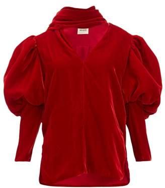 KHAITE Jones Gigot Sleeve Velvet Top - Womens - Red