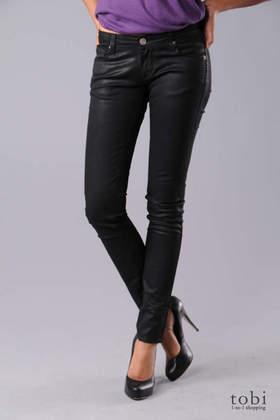 Unknown Factory Zipper Pocket Skinny Jeans in Black Wax