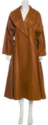 The Row Leather Flared Coat