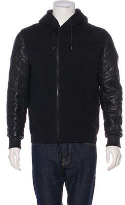 Givenchy Lambskin-Trimmed Zip-Up Hoodie