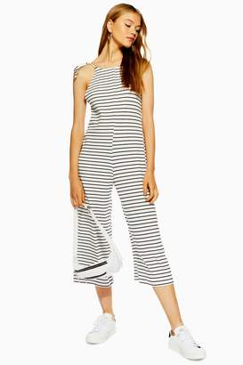 Topshop Womens Stripe Tie Strap Playsuit - Monochrome